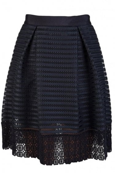 LACE AND MESH PANELLED SKIRT