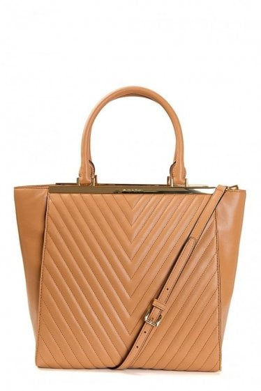 Michael Kors Lana Large Leather Quilted Tote Bag Tan