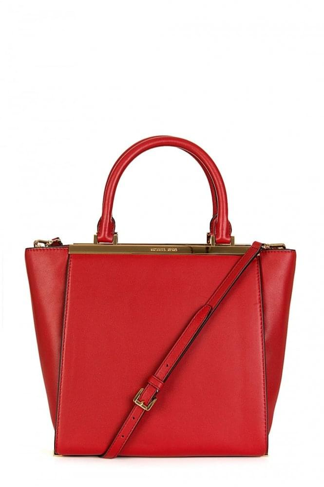 MICHAEL KORS Lana Medium Leather Tote Red