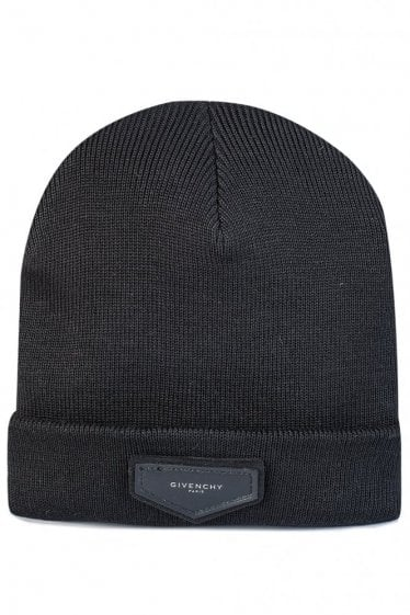 Leather Patch Beanie Hat