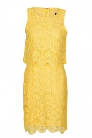 Armani Jeans Women's Lace Sheath Dress Yellow