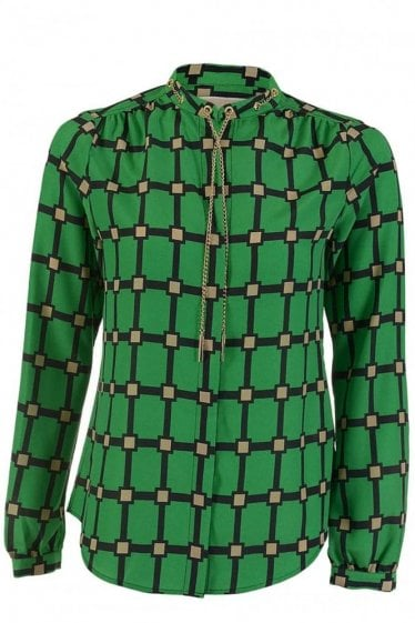 Michael Kors Long Sleeve Chain Blouse Green