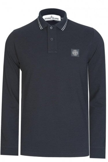 Long Sleeve Contrast Polo Black