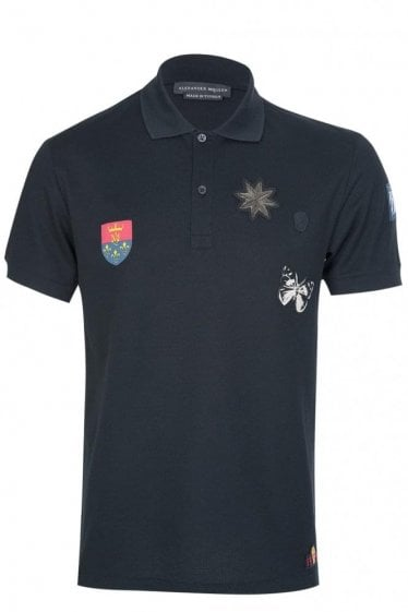 Mainline Alexander McQueen Applique Badges Polo Black