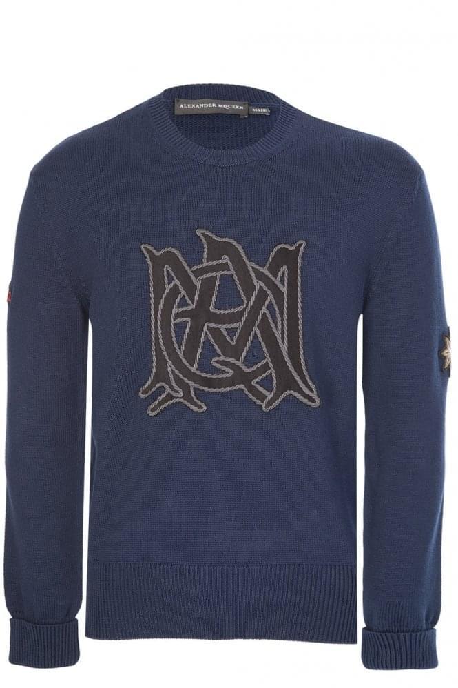 Mainline Alexander McQueen Badges Knitted Jumper Navy