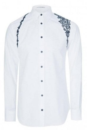 Mainline Alexander McQueen Embroidered Harness Shirt White