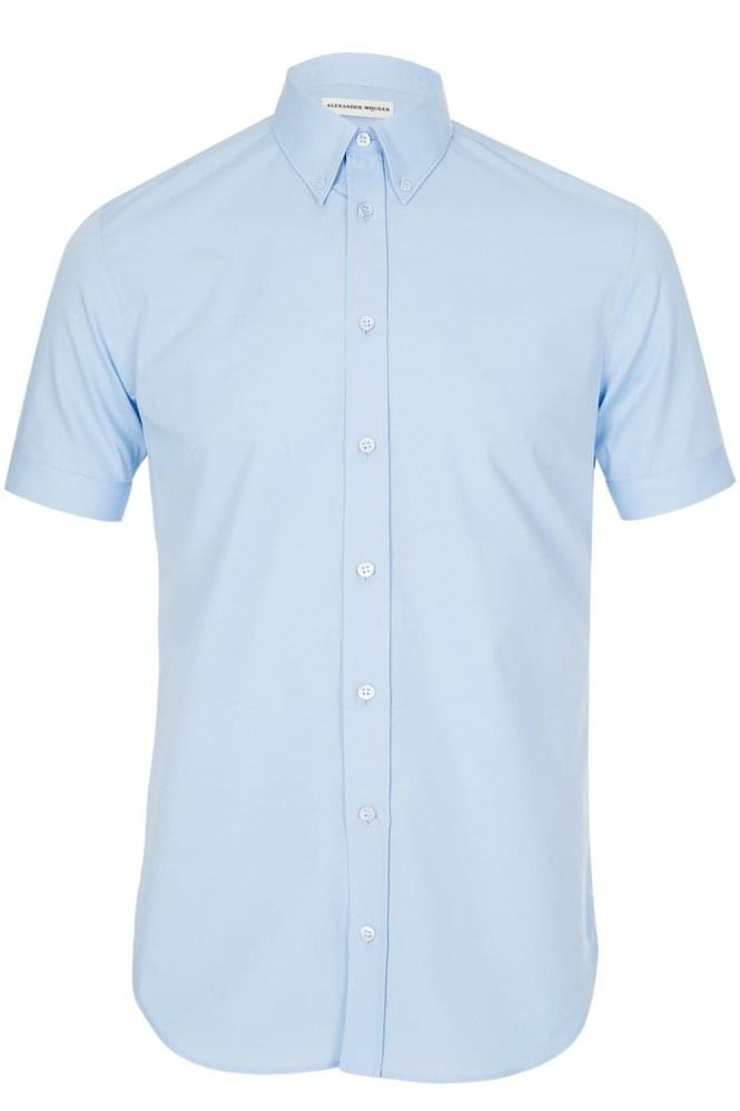 ALEXANDER MCQUEEN Mainline Alexander McQueen Short Sleeve Stretch Shirt Blue