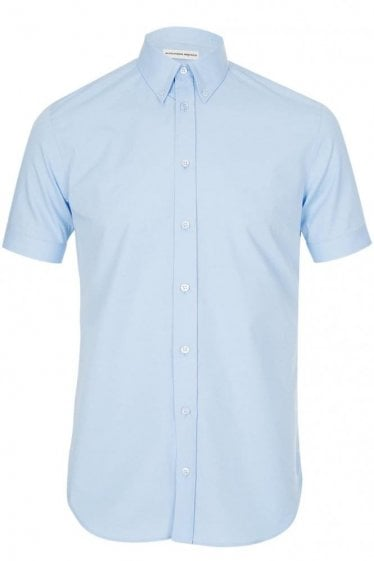 Mainline Alexander McQueen Short Sleeve Stretch Shirt Blue
