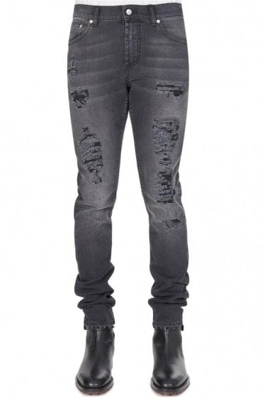 Mainline Alexander McQueen Shredded Jeans Grey