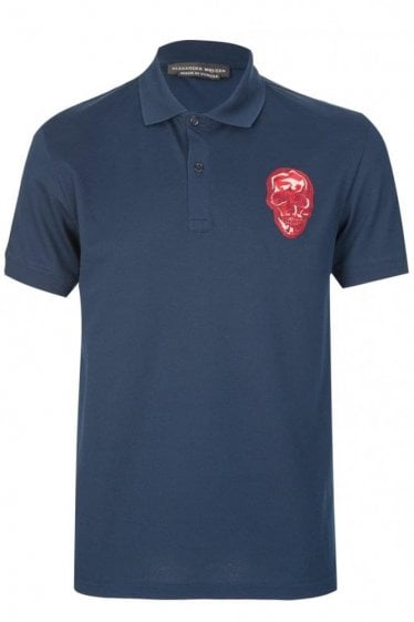Mainline Alexander McQueen Skull Embroidered Polo Navy
