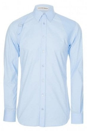 Mainline Alexander McQueen Tonal Harness Shirt Blue