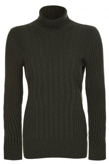 Maison Margiela Ribbed Polo Neck Jumper Green