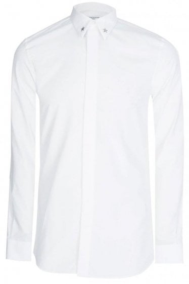 Metal Star Collar Shirt White