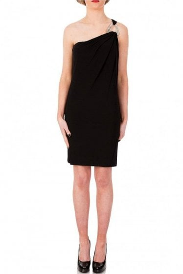 Michael Kors Black One Shoulder Jersey Dress