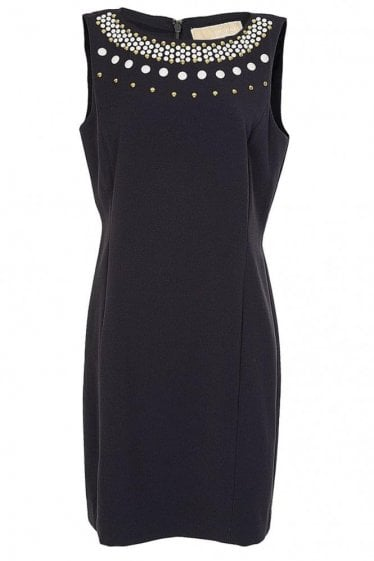 Michael Kors Boat Neck Embellished Dress Navy