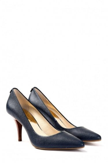 Michael Kors MK Flex Leather Mid Heel Pump Navy