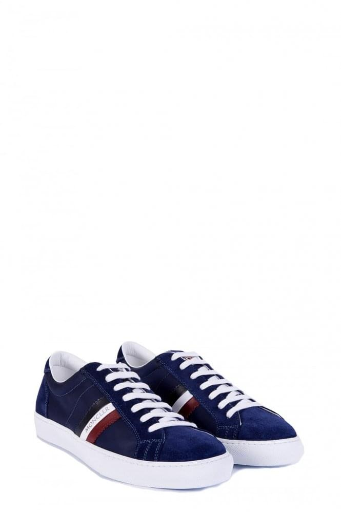 MONCLER Blue Monaco Suede And Canvas Sneakers