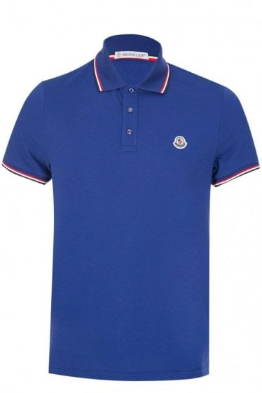 Moncler Chest Logo Classic Polo Blue