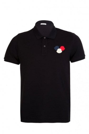 Moncler Chest Logo Polo Short Sleeved Black