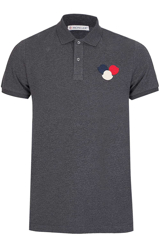 983fc2ea Moncler Chest Logo Polo Short Sleeved Charcoal