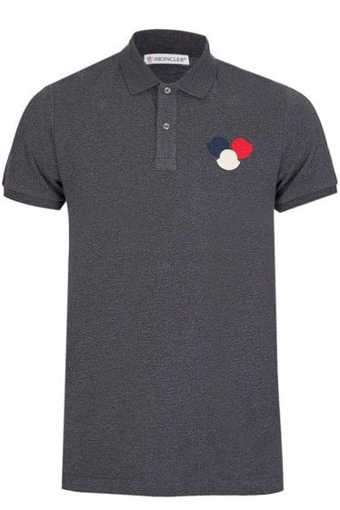 Moncler Chest Logo Polo Short Sleeved Charcoal