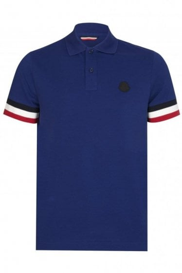 Moncler Contrast Sleeves Polo Blue