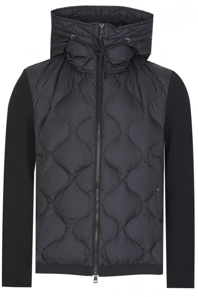 MONCLER Contrast Texture Hooded Top Black
