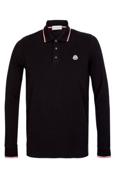 Moncler Contrast Trim Long Sleeve Polo Black