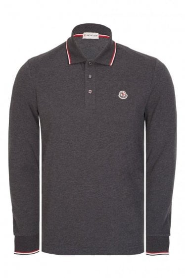 Moncler Contrast Trim Long Sleeve Polo Grey