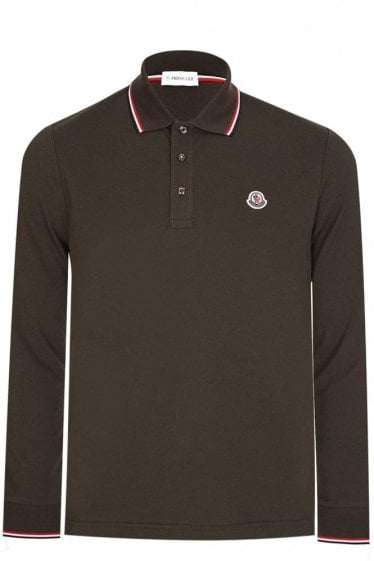 Moncler Contrast Trim Long Sleeve Polo Khaki