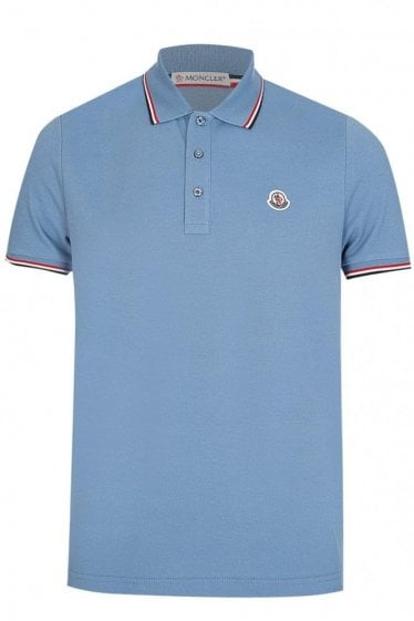 Moncler Contrast Trim Polo Blue