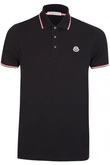 Moncler Contrast Trim Polo Short Sleeved Black