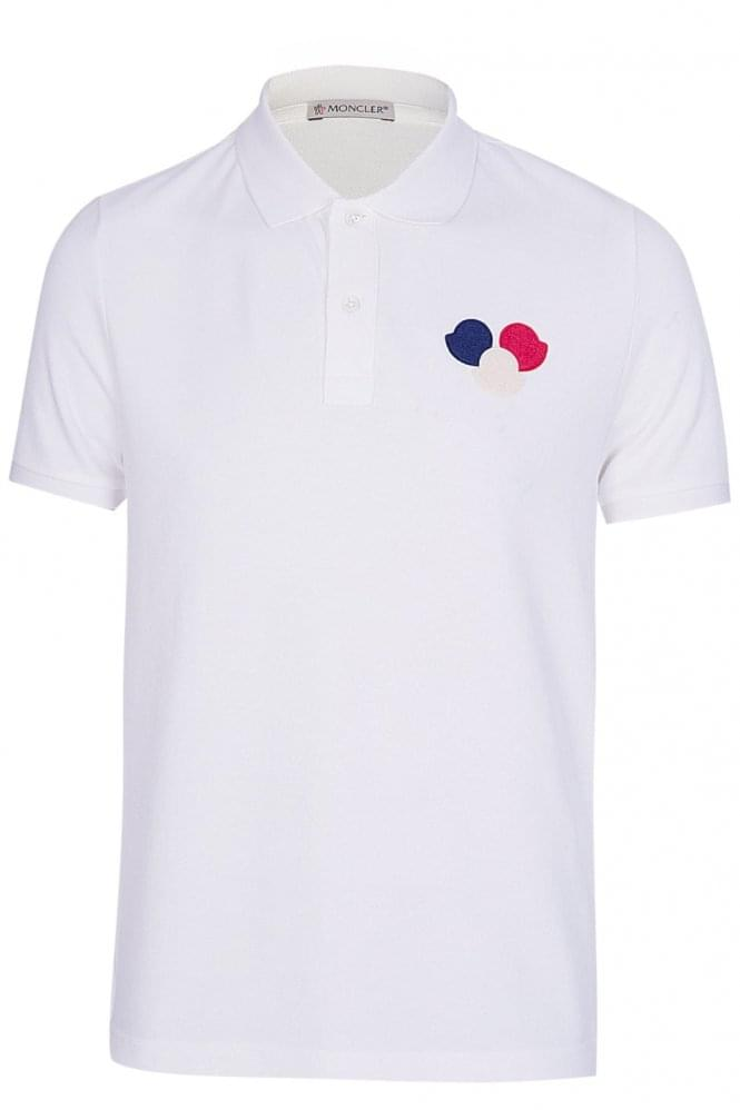 MONCLER Contrast Trim Polo Short Sleeved White