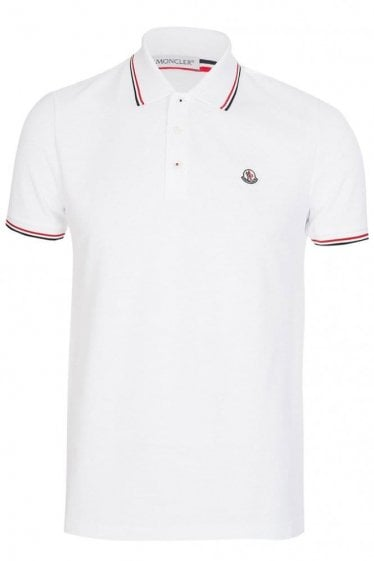 Moncler Contrast Trim Polo White