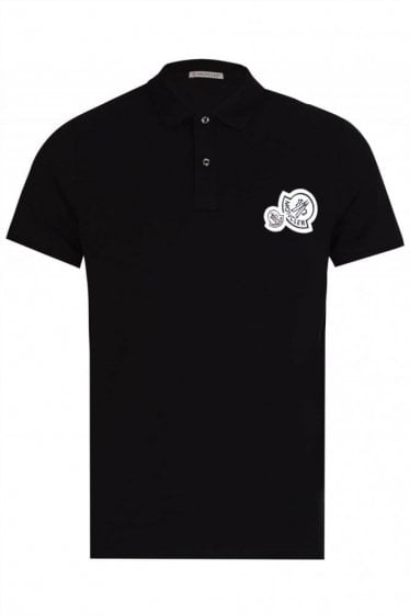 Moncler Double Logo Polo Black