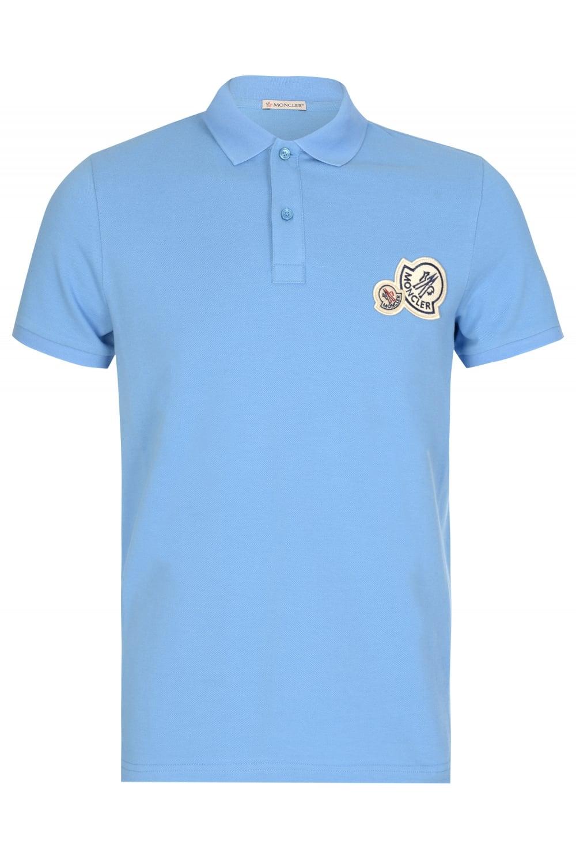 Moncler double logo polo sky blue for Moncler polo shirt sale