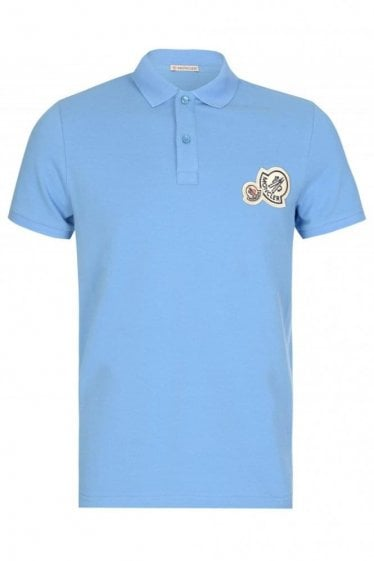 Moncler Double Logo Polo Sky Blue