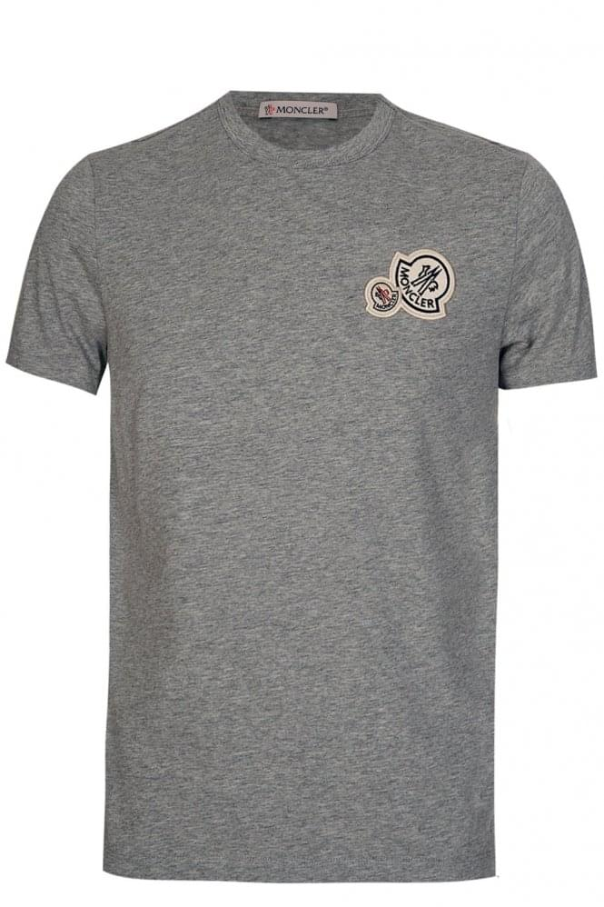 MONCLER Double Logo T-shirt Grey