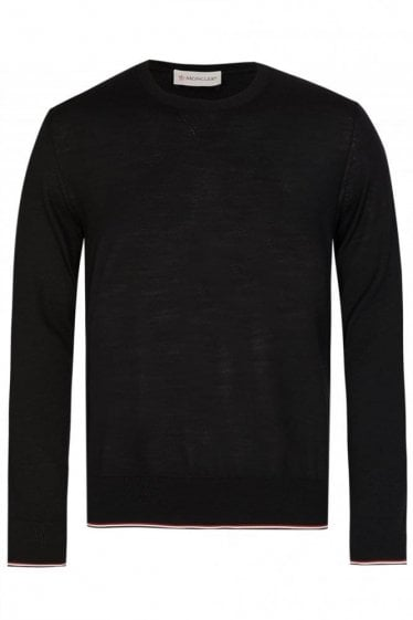 Moncler Fine Knit Crew Neck Jumper Black