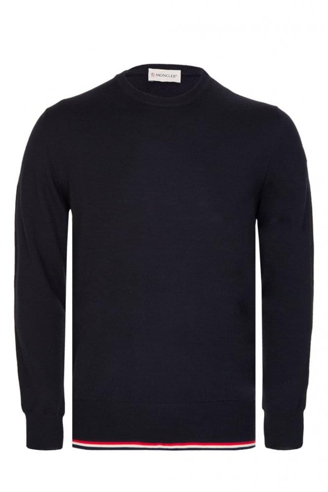MONCLER Fine Knit Crew Neck Jumper Navy
