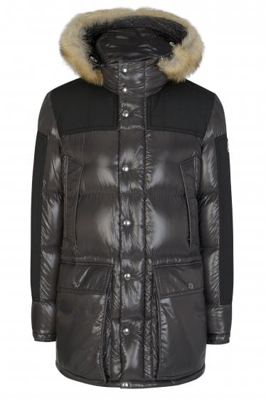 Moncler Frey Quilted Fur Trim Coat