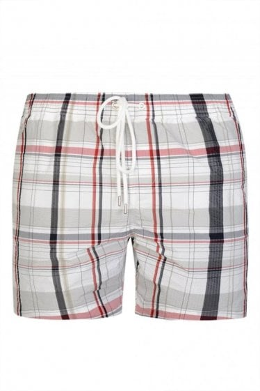 Moncler Gamme Bleu Checked Swim Shorts White