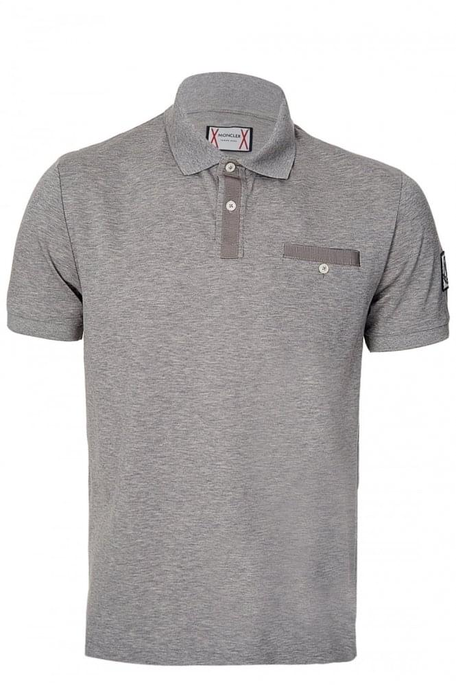 MONCLER Gamme Bleu Chest Pocket Polo Grey