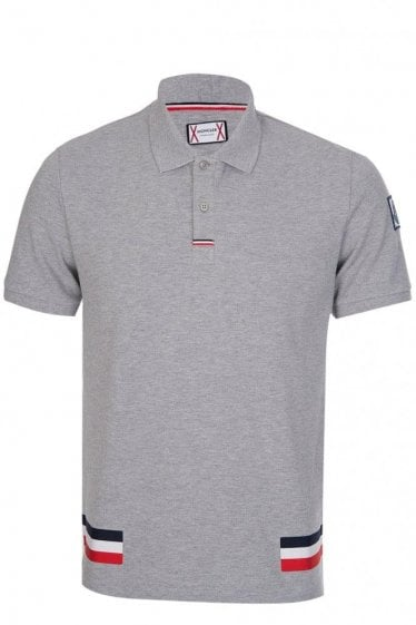 Moncler Gamme Bleu Contrasting Stripes Polo Grey