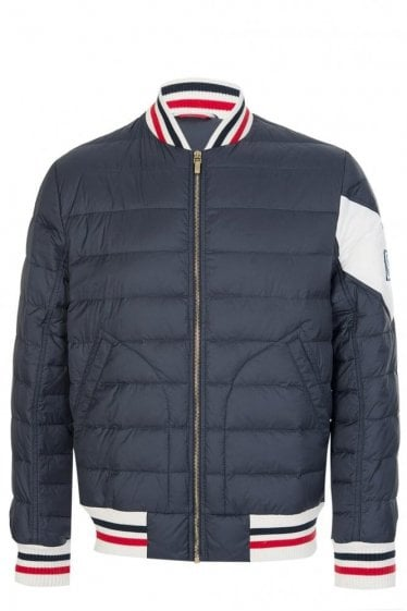 Moncler Gamme Bleu Quilted Bomber Jacket Navy