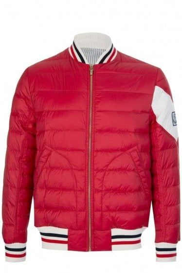 Moncler Gamme Bleu Quilted Bomber Jacket Red