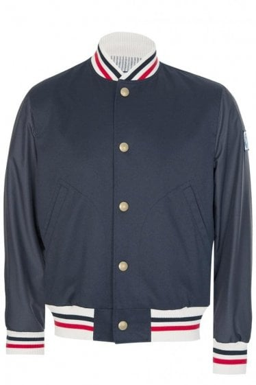 Moncler Gamme Bleu Striped Trim Bomber Jacket