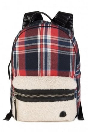 Moncler George Check Backpack Red