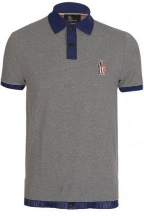 Moncler Grenoble Contrast Collar Polo Grey