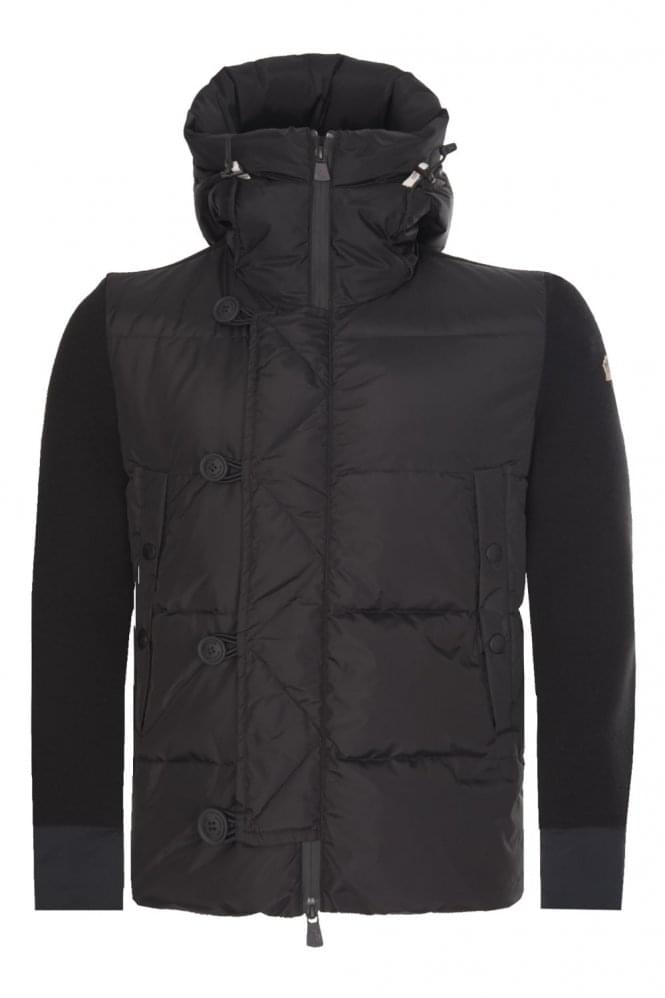 MONCLER Grenoble Mixed Fabric Hooded Jacket Black